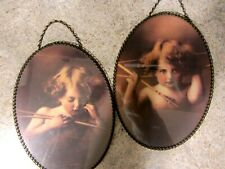 Pair Oval Victorian Style Angel Pictures, Cupid Awake, Cupid Asleep,