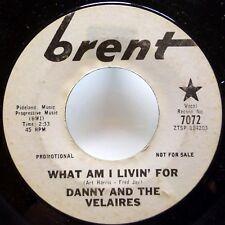 DANNY & Velaires 45 What Am I Livin For / same BRENT Promo R&B Popcorn  Ws532