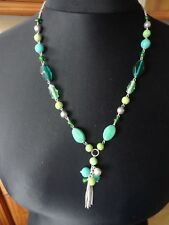 Lovely Green Bead Necklace With Silver Coloured Tassel  31 ins Long
