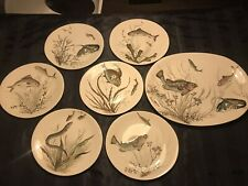 Johnson Bros FISH 6 Dinner Plates, Design 1 To 6, 1 Charger.