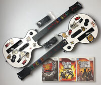 Nintendo Wii Guitar Hero Dual Guitar Bundle 3 Games World Tour Warriors w/ Box