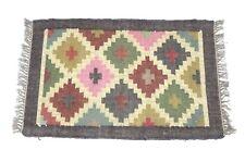 Handwoven Floor Kilim Rugs  2x3 Jute Area Rug Hand loomed Rustic Jute Door mats