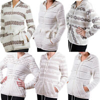 New Ladies Knitted Hooded Cardigan Womens Casual Knitwear Jumper Top Sweater