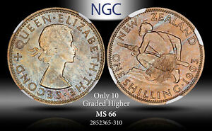 1963 NEW ZEALAND 1 SHILLING NGC MS66 ONLY 10 GRADED HIGHER # COLOR TONED