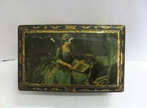 GREAT ANTIQUE EARLY 19th CENTURY HAND PAINTED METAL BOX!!!!