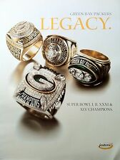 Green Bay Packers 4 Super Bowl Ring Poster - from Jostens