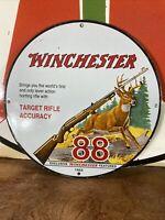 VINTAGE 1955 ''WINCHESTER'' MODEL 88 RIFLE 12 INCH PORCELAIN DEALER SIGN
