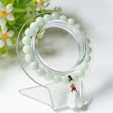 Natural Grade A Jade (jadeite) 8mm Bead Bracelet with Pixiu Charm Good Luck