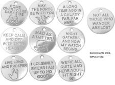 Mix Lots  50PCS Antiqued Silver Metal Round Word Charms Pendants 20MM From USA