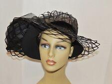 1960's Lacy Large Brim Hat w Black Rose Med
