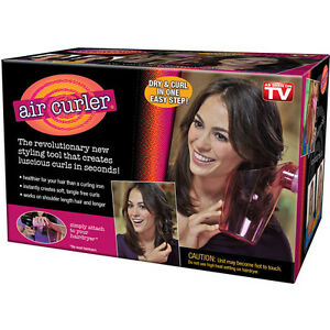 AIR CURLER HAIR DRYER CURLS STYLER SPIN ROLLER EASY WIND TOOL CAP PINK NEW TWIRL