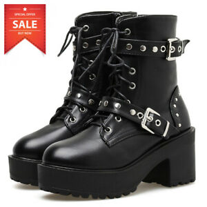 Sexy Rivet Women Boots Platform Black Leather Gothic Punk Style Combat Mid Heels