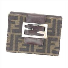 Fendi Wallet Purse Zucca Brown Beige Canvas Leather Woman Authentic Used C3132