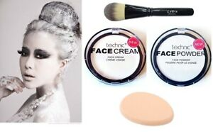 Technic Face Body Paint White Cream+Powder+Makeup Brush+Sponge -Gothic/Halloween