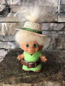 "Vintage Scandia Troll Doll! 2 3/4"" Tan Fur Hair Green Spiral Eyes! Unmarked!"