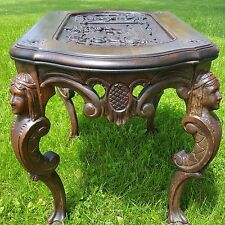 c. 1840 RENAISSANCE REVIVAL Carved EGYPTIAN Scene COFFEE TABLE w/ Figural HEADS