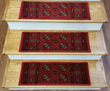 "Rug Depot 13 Traditional Carpet Stair Treads 26"" x 9.5"" Staircase Rugs Crimson"