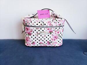 🎀 Betsey Johnson Makeup Cosmetics Train Case Dots Floral White Bag Purse