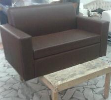 Divano due 2 posti Divanetto Marrone tessuto ecopelle sofà poltrona relax sedia