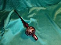 ~ alte Christbaumspitze Glas violett lila Goldglitzer Schneeflocke Vintage CBS ~