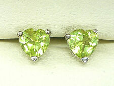 925 STERLING SILVER EARRINGS 5MM HEART CUT PERIDOT NATURAL GENUINE STONE