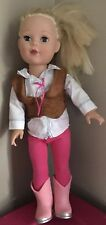 """2009 Madame Alexander 18"""" Blonde Blue Eyed Doll Style Western Outfit"""