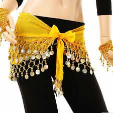 Women Lady Chiffon Belly India Dance Hip Scarf 3 Rows Coin Jingle Belt Dress