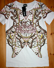 Just Cavalli Shirt Kurzarm Butterfly White     size: L   Neu