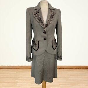 Ungaro Fuchsia Designer Virgin Wool Skirt Suit Size 12/14 With Embroidery