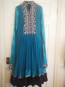 pakistani Indian ready made anarkali Size Medium 3 piece embroidery flared dress