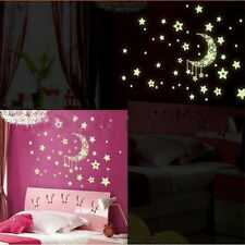 Moon Star Glow Removable Wall Sticker Mural Luminous Fluorescent Decal Paper Q