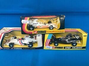 Vintage Corgi DieCast  F1 Racing Car x3 Boxed