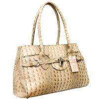 Ladies Womens Genuine Italian Leather Alligator Print Shoulder Satchel Handbag