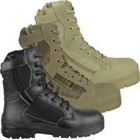 Tactical Side Zip Army Patrol Combat Boots Security Police Leather/Suede