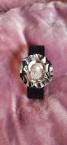 Armband Silber Schwarz Perle Neu Design Magnet PU-Leder Strass Zirkonia Cool