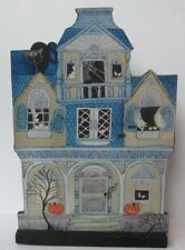 "RETRO HALLOWEEN HAUNTED HOUSE 10"" TABLE WOOD DECORATION PLAQUE"