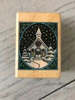 COMOTION WOOD RUBBER STAMP SNOW SCENE #842