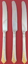 Set of 3 CUBE Oneida GOLDEN DAMASK ROSE USA Heirloom Stainless DINNER KNIVES 9.5