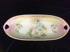 Vintage Porcelain Celery/Asparagus Dish, White Rose Decoration, Gold Trim, 12""