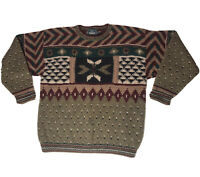 Vtg Woolrich Dad Sweater Mens L Bill Cosby Biggie Smalls Coogi Style Hand Knit