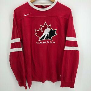 Nike Long Sleeve T-Shirt Men's L Red Canada Hockey Team Olympics