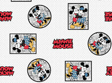 FAT QUARTER  DISNEY MICKEY & MINNIE MOUSE FRAMED COMIC STRIP  COTTON FABRIC  FQ