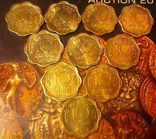 India-republic 10 Paise, 1968-1969-1970- 1971-B mint 10 coiins a unc / b unc