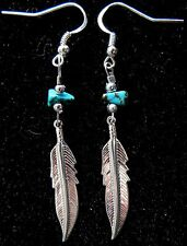 "Navajo Silver 1¼"" Eagle Feather earring & Turquoise nugget by Roseanne Manygoats"