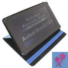 Tasche Strass Blume für A-rival BioniQ 1001 Tablet Book Style Schutz Hülle blau