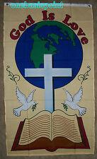 3'x5' God Is Love Flag Jesus Cross Christian Banner Peace Earth Resurrection 3x5