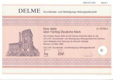 Delme Grundbesitz und Beteiligungs AG  Bremen 1990  50DM
