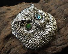 Shell Pendant Strigiformes Strigidae Bird Aj17 Night Owl White Bronze and Paua