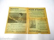 """Volantini Pubblicitari """" il mago d'europa """" anni '60"""