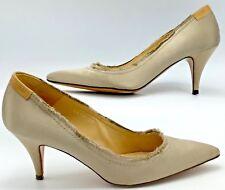PEDRO GARCIA Dress PUMPS Ladies 37.5 Beige Satin Distressed Womens Shoes Taupe